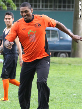 Metta World Peace plays soccer in Vancouver, Canada.