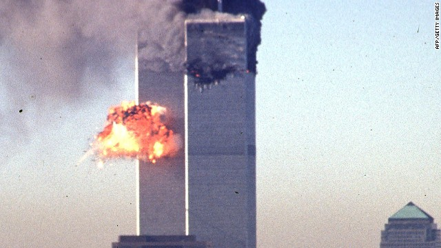 A hijacked airliner crashes into the World Trade Center on September 11, 2001 in New York City -- an event which brought global terrorism to a level never before seen.