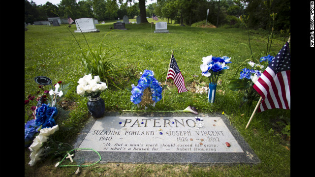 The grave of Joe Paterno is at Spring Creek Presbyterian Cemetery in State College, Pennsylvania. 