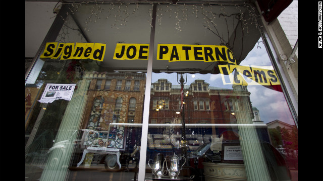A business advertises Joe Paterno items within view of the courthouse where assistant coach Sandusky is on trial.