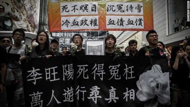 Protesters in Hong Kong on Sunday call for an investigation into Li's death.