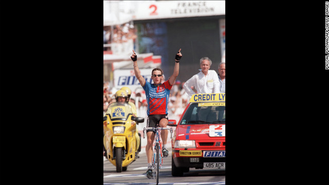 In 1995, Armstrong wins the 18th stage of the Tour de France. He finished 36th overall and finished the race for the first time that year.