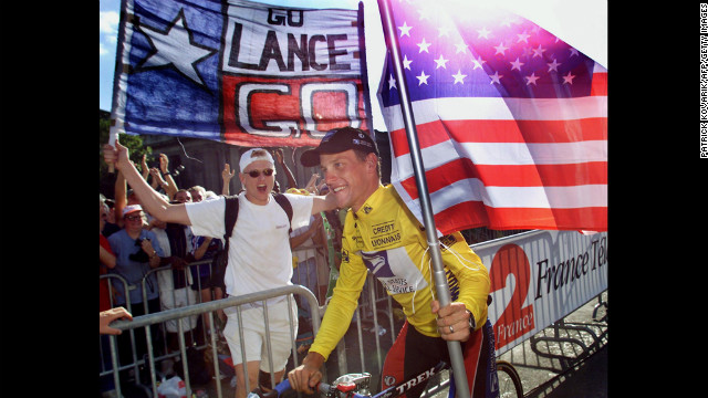Armstrong takes his honor lap on the Champs-lyses in Paris after winning the Tour de France for the first time in 1999.