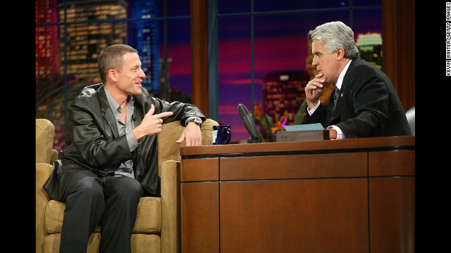 Jay Leno interviews Armstrong on &quot;The Tonight Show&quot; in 2003. 