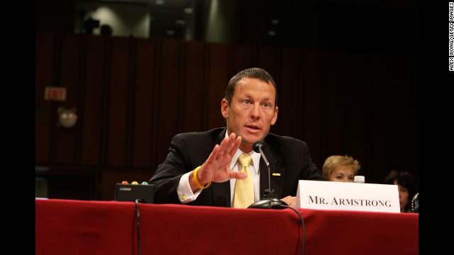 As a cancer survivor, Armstrong testifies during a Senate hearing in 2008 on Capitol Hill. The hearing focused on finding a cure for cancer in the 21st century.