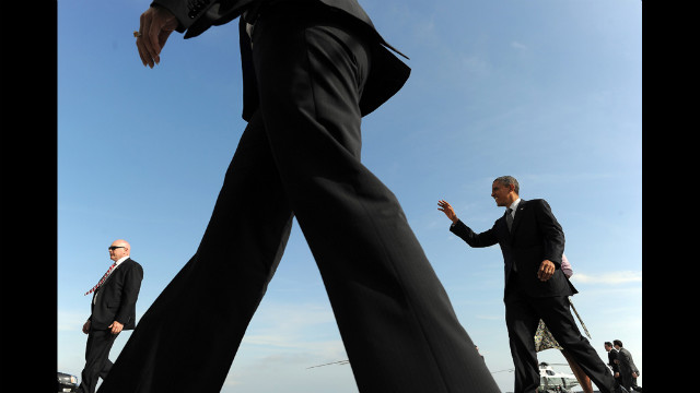 President Barack Obama greets a crowd at John F. Kennedy International Airport in New York on Thursday, June 14. Obama visited the World Trade Center to get an update on its growth and help prepare some of the finishing touches.