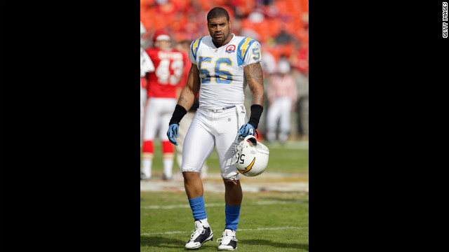 Shawne Merriman, then of the San Diego Chargers, was suspended for four games after testing positive for steroids in 2006.