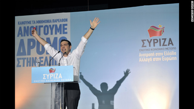 Radical leftist leader Alexis Tsipras greets his supporters during a main pre-election rally Thursday in central Athens.