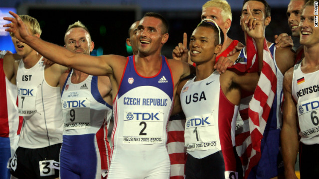 Clay is congratulated by world record-holder Sebrle of the Czech Republic after his 2005 world championships success.