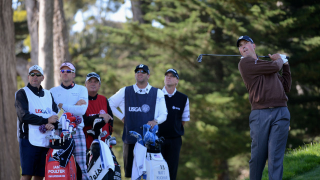 Matt Kuchar of the United States watches his tee shot Friday on the third hole as Ian Poulter of England and Steve Stricker of the United States look on with their caddies.