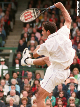 Sampras, here employing his trademark jump smash, matched the alltime Wimbledon record for men's titles held by William Renshaw -- who won seven in the 1880s.