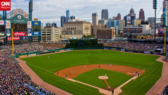 Home to the Detroit Tigers, Comerica Park opened in 2000 and is the successor to Tiger Stadium. Baseball fans can enjoy food and drinks and watch a game while being treated to a great view of the downtown skyline. &lt;br/&gt;&lt;br/&gt;See more photos of Detroit at &lt;a href='http://ireport.cnn.com/docs/DOC-802483'&gt;John McGraw's iReport&lt;/a&gt;. 