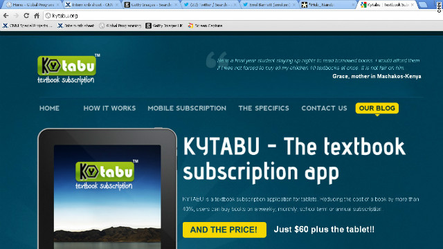 Kytabu is one of the apps currently being developed at the iHub space. It brings students digitalized version of text books, making them cheaper and more accessible.