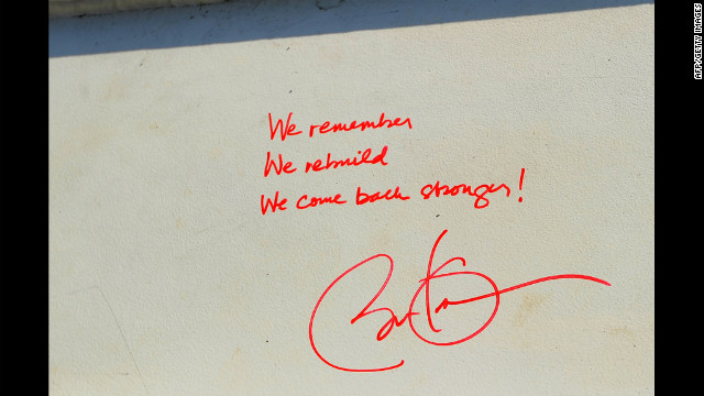 Obama signed a steel beam for One World Trade Center, writing, &quot;We remember we rebuild we come back stronger!&quot;