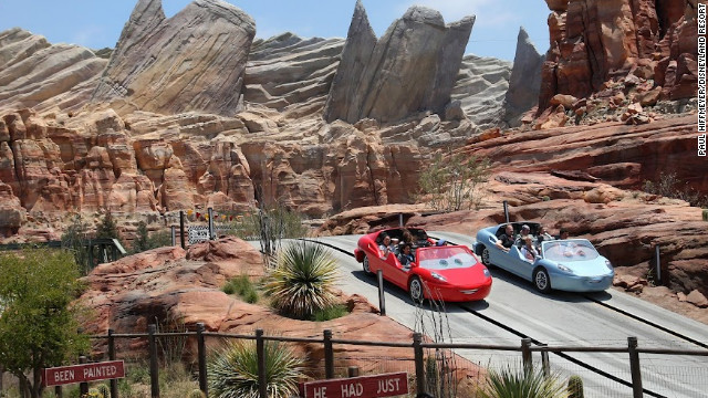 Radiator Springs Racers, one of three new attractions that make up Disney's Cars Land, takes riders on a slot car adventure. The park opens June 15.