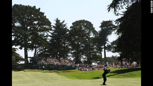 Rory McIlroy of Northern Ireland hits his second shot on the second hole during the first round of the 112th U.S. Open on Thursday.