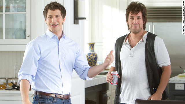 Andy Samberg (left) and Adam Sandler play a neurotic son and out-of-control father in
