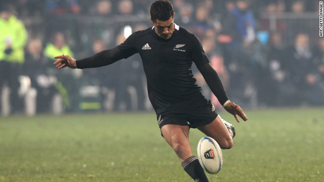 All Blacks star Dan Carter kicks a match-winning drop-goal against Ireland at AMI Stadium in Christchurch on Saturday.