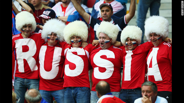 Russian fans enjoy the atmosphere ahead of the match between Greece and Russia.