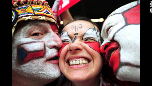 Football fans enjoy the atmopshere ahead of the match between Czech Republic and Poland.