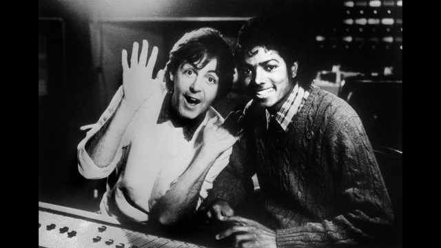 McCartney in the recording studio with Michael Jackson in 1983.