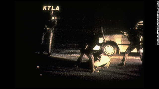 A still from the video made by George Holliday from his balcony shows Los Angeles police officers beating King after he was stopped for a traffic violation on March 3, 1991.