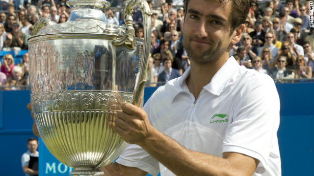 Croatia's Marin Cilic was left to claim the winning trophy at Queen's Club after Nalbandian was disqualified.