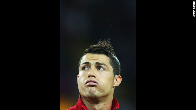Cristiano Ronaldo of Portugal looks on before the match against the Netherlands.