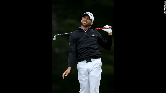 Sergio Garcia of Spain tees off at the third hole.