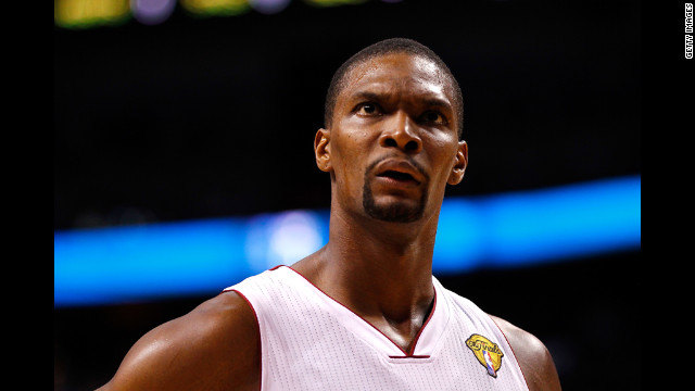 The Heat's Chris Bosh reacts during Sunday's game against the Thunder.