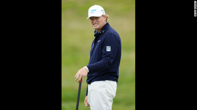 Ernie Els of South Africa reacts to a missed putt.