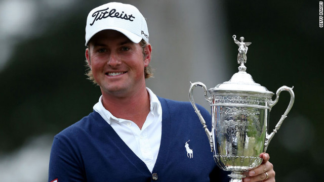 Webb Simpson of the United States holds the U.S. Open trophy after his one-stroke victory in San Francisco on Sunday, June 17. Simpson finished the four-day event at one shot over par to secure his first major title.