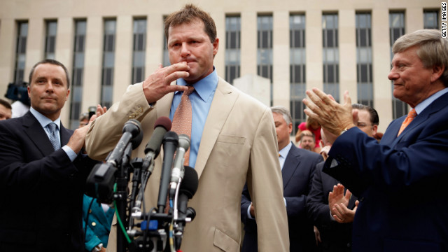 Roger Clemens speaks to the media in Washington on Monday, June 18, after he was found not guilty of lying to Congress during an investigation of steroid use among Major League players. Click through the gallery for a look back at his career.