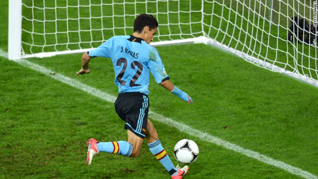 Jesus Navas scores Spain's first goal during the group C match against Croatia on Monday.