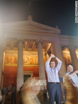 Alexis Tsipras, Syriza leader, greets his supporters in central Athens after the country's general election on June 17, 2012