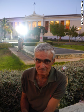 "Nicos Theodorous at the Syriza supporters rally on June 17, 2012. He did not vote but says he supports ""all Greek people."""
