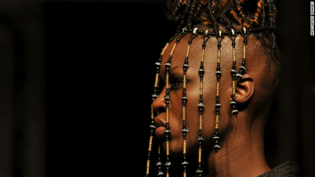 African designers presented their creations during the 10th annual Dakar Fashion Week in the Senegal capital. Here, a model displays a tribal-inspired head piece by Moroccan designer Jamila Lafqir.