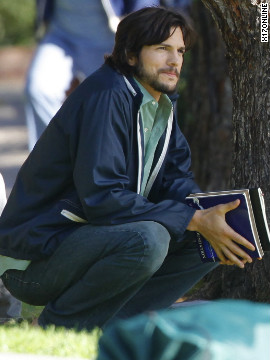 Ashton Kutcher films the Steve Jobs movie in Westwood.