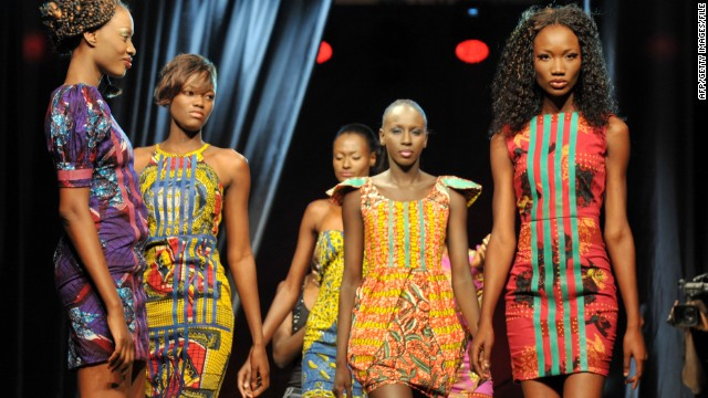 Colorful creations from Senegalese designer Adama Amanda Ndiaye -- the name behind the Adama Paris label -- during the opening day. 