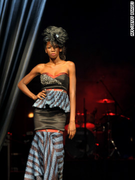 A model presents a creation from Senegalese designer Mamta Lopy.