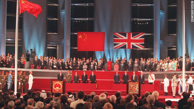 The official handover ceremony was held in the Hong Kong Convention and Exhibition Centre on July 1, 1997. The Chinese flag flies after the Union Jack was lowered.
