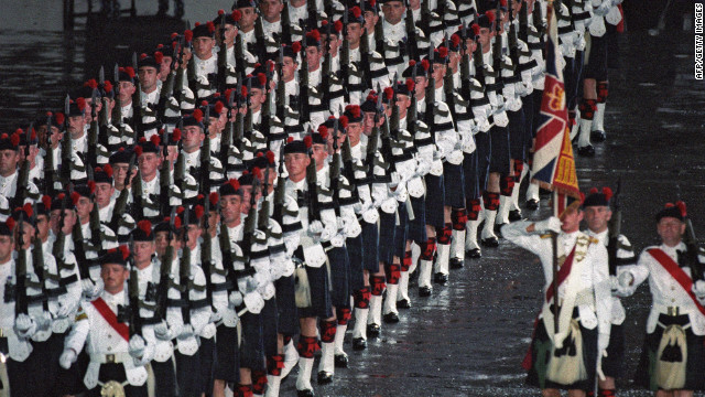 British solders participate in the British Military Farewell Ceremony at the HMS Tamar military base on June 30, 1997.