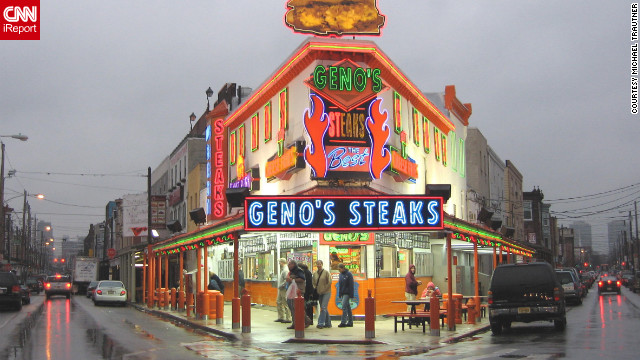 "In the last installment of our ""city smackdown"" series, iReporters made the case for Philadelphia versus Detroit.<br/><br/>No food is more iconic for Philadelphia than the cheesesteak, and Geno's Steaks is one of the city's most iconic. Started in 1966 by Joe Vento, Geno's Steaks is open 24 hours a day and is decorated with hundreds of autographed photos of celebrites who have stopped by to enjoy a little piece of Philly."