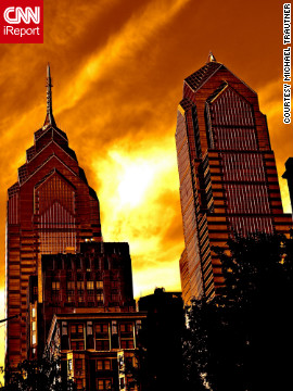 Michael Trautner captured this striking photo of One Liberty Place, left, and the Two Liberty Place. Completed in 1987, One Liberty Place, at 61 stories, is the second-tallest building in Philadelphia, while its counterpart, Two Liberty Place, stands 58 stories tall. <br/><br/>See more photos of the city at <a href='http://ireport.cnn.com/docs/DOC-802262'>Trautner's iReport</a>.