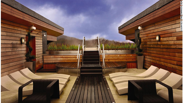 The rooftop terrace at the Carrick Spa at the Cameron House on Loch Lomond in Scotland has views of the surrounding woods. <a href='http://www.budgettravel.com/slideshow/photos-girls-weekend-world-spas-with-incredible-views,8525/' target='_blank'>See more photos of the spas at BudgetTravel.com</a>.
