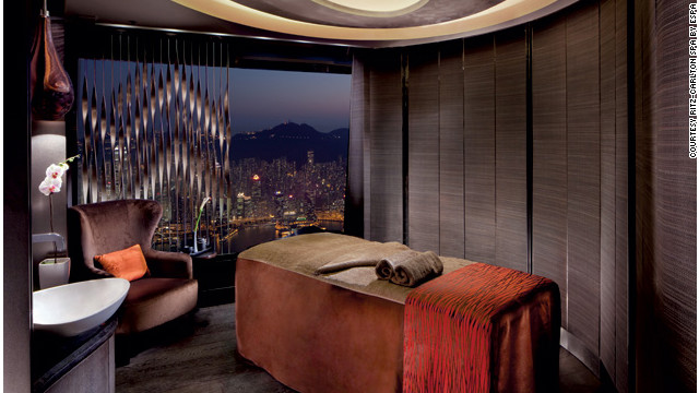 Treatment rooms at the Ritz-Carlton Hong Kong's Spa by ESPA are 1,624 feet above the city. <a href='http://www.budgettravel.com/slideshow/photos-girls-weekend-world-spas-with-incredible-views,8525/ ' target='_blank'>See more photos of the spas at BudgetTravel.com</a>.