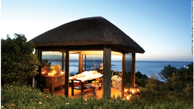 The Twelve Apostles Hotel and Spa in Cape Town, South Africa, has open-air gazebos where you can have your treatment looking out over the water. <a href='http://www.budgettravel.com/slideshow/photos-girls-weekend-world-spas-with-incredible-views,8525/' target='_blank'>See more photos of the spas at BudgetTravel.com</a>.
