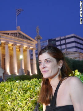 "Eliana Voutsadakis, a 36-year old architect, at the Syriza supporters rally on June 17, 2012. She said the result was an ""enormous success"" and believes Alexis Tsipras will become prime minister in the next few years"