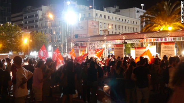Syriza supporters gather on June 17, 2012