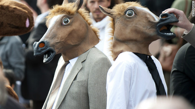 Any fans of fancy dress will be left disappointed as it is outlawed at Royal Ascot. So these two equine gentlemen will be left long-faced.